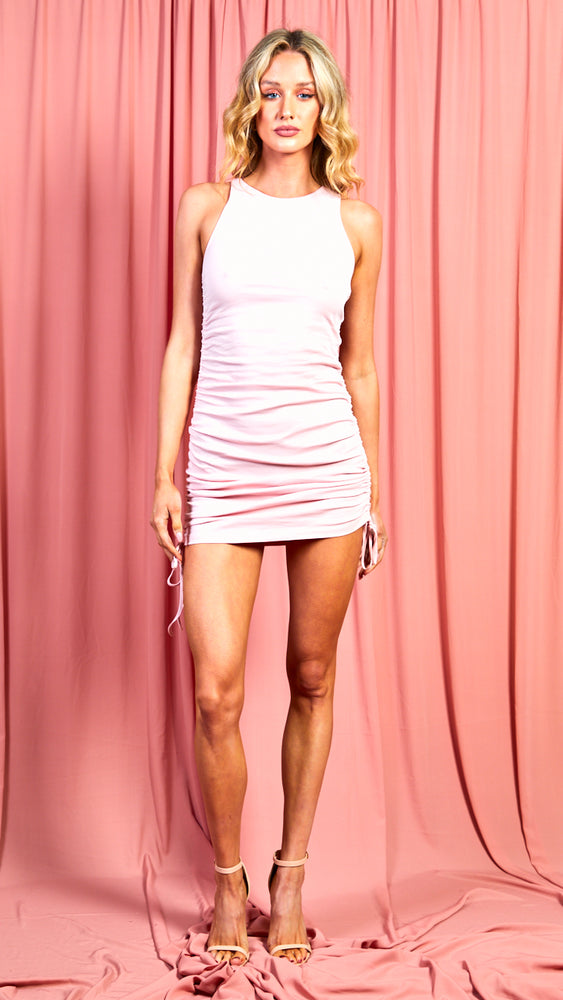 Blush Pink Drawstring Mini Dress