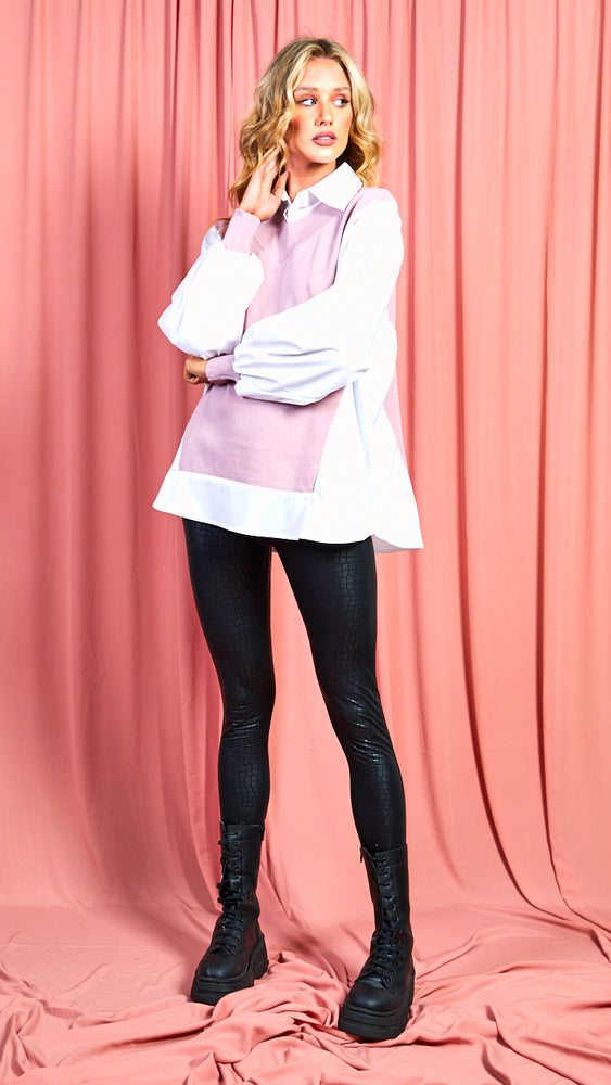 Donna All In One Knit & Shirt - Pink