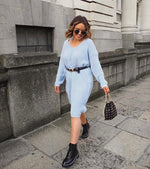 Pastel Blue Midi Knit Dress