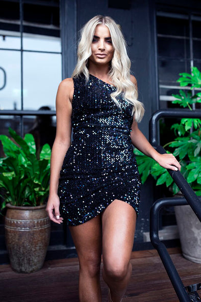 Black One-shoulder Sequin Dress Black