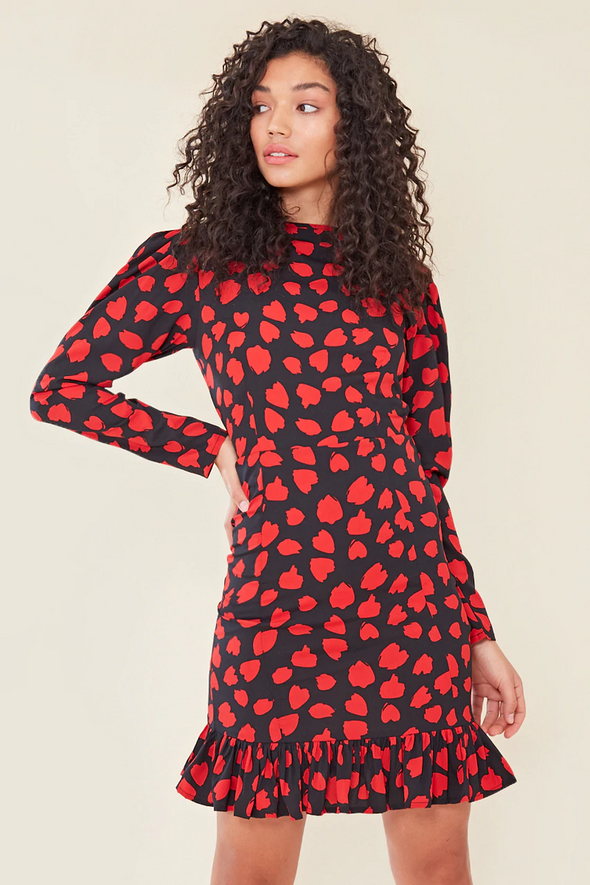 Black & Red Heart Print Ruffle Frill Hem Mini Dress