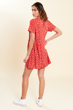 Rust Polka Dot Mini Smock Dress.