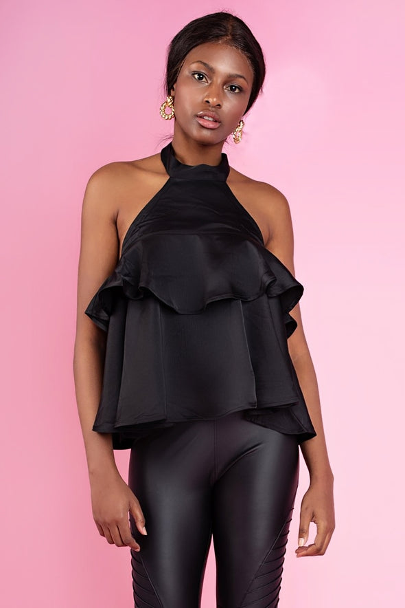 Bethany Black Satin Halterneck Top