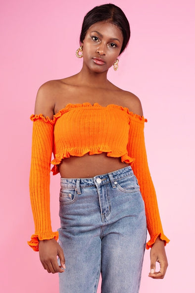 Daphnea Ruffle Bardot Ribbed- Orange