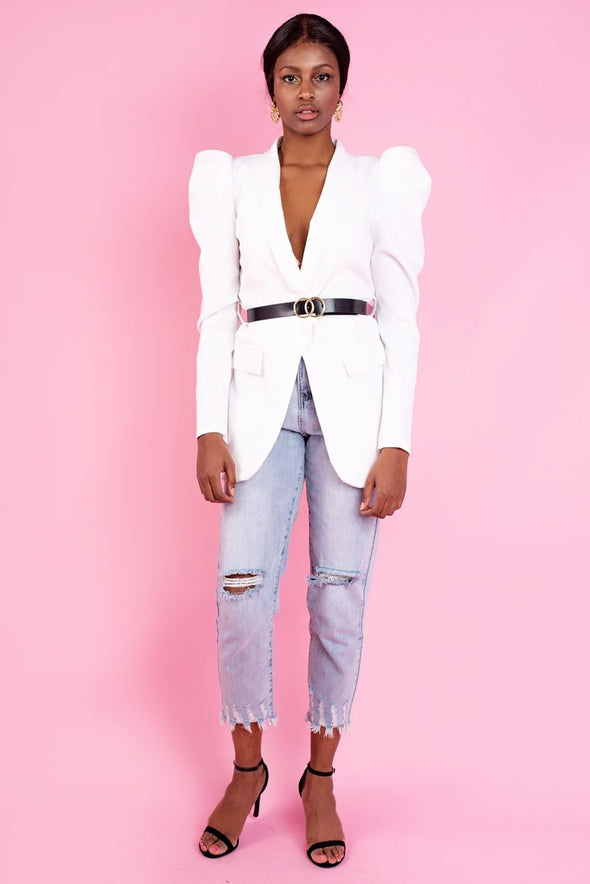 Sasha White Ladies Belted Blazer Jacket