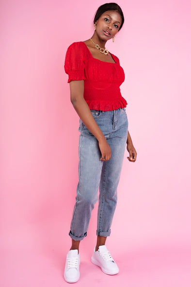 Shirred Milkmaid Puff Sleeve Crop Top