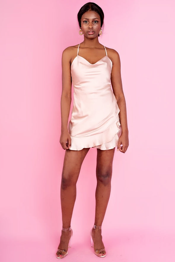 Nude Satin Mini Slip Mock Dress Playsuit