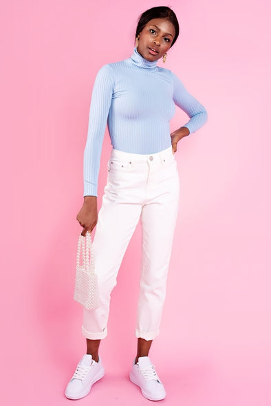 Powder Blue Ribbed Polo Neck
