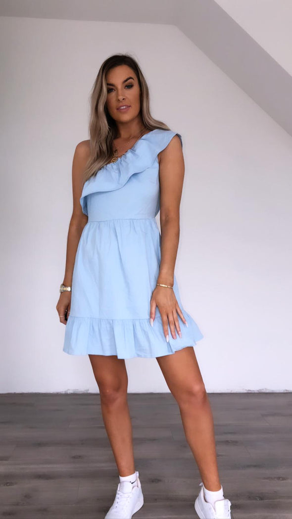 Izzy blue one shoulder dress