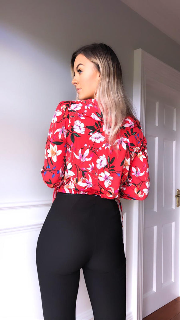 Susie red print bodysuit