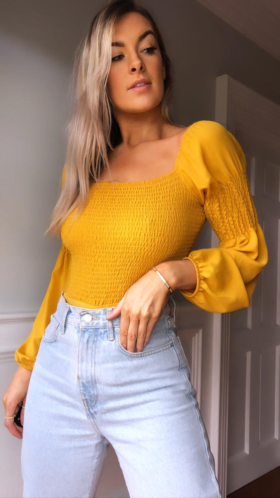 Ashlee ruched mustard top