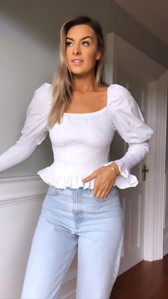 Ashlee ruched white top