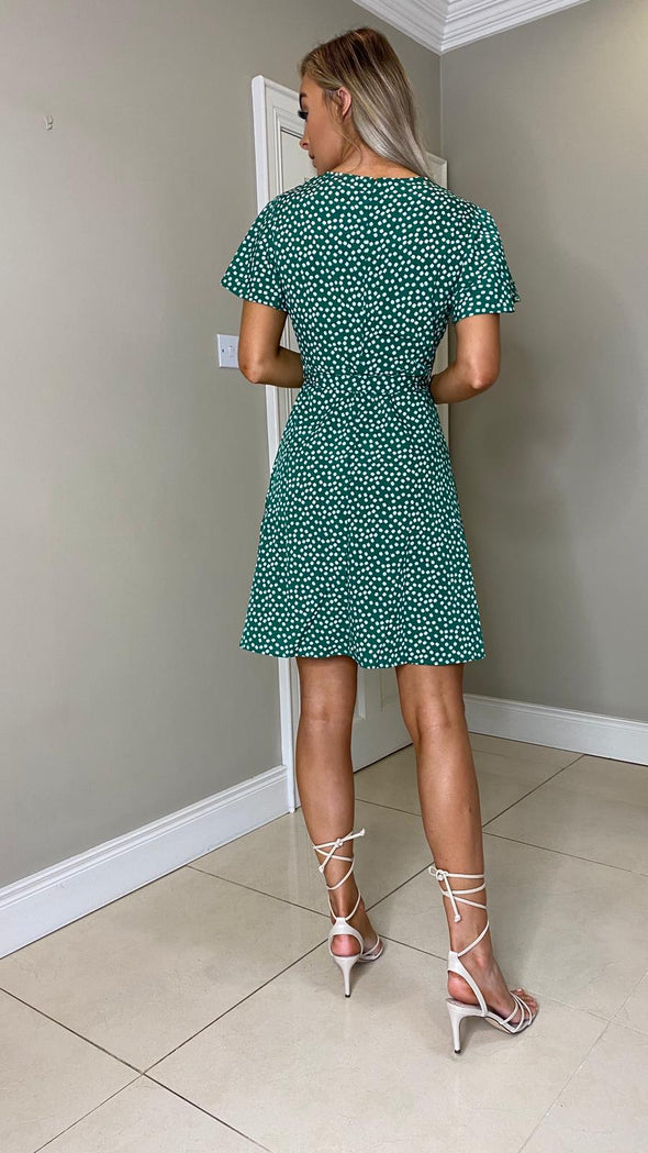 Vicky Floral Print Dress - Green