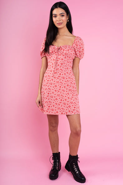 Pink-Red Splodge Print Dress