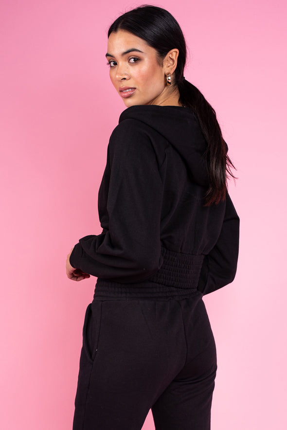 Black Loop Back Shirred Waist Zip Through Crop Hoodie.