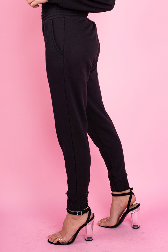 Black Loop Back Shirred Waist and Cuffs Joggers