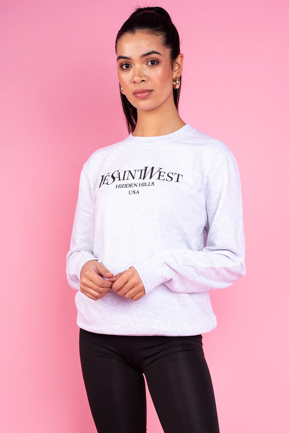 Ye Saint West Oversized Sweatshirt- Light Grey