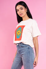 Cassie Boyfriend Tee With Tarot Card Print