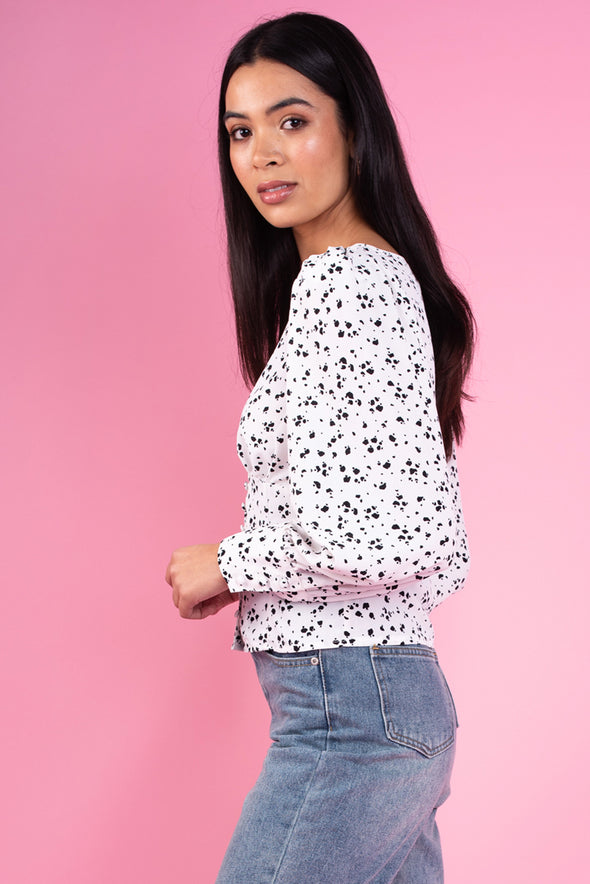 White & Black Splodge Print Top