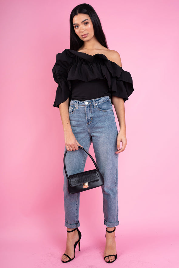 One Shoulder Exaggerated Ruffle Top