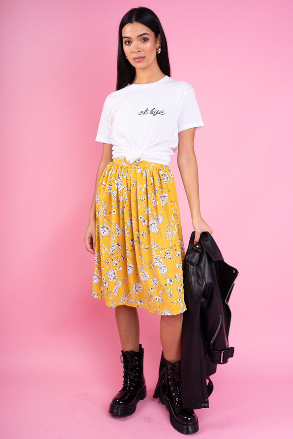 Floral Side Slit Midi Skirt - Mustard