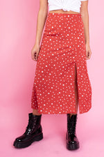 Rust White Polka Dot Midi Skirt with Front Splits