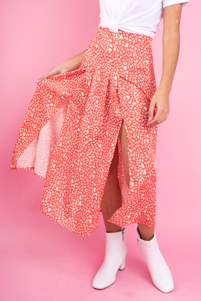 Pink & Yellow Heart Print Skirt