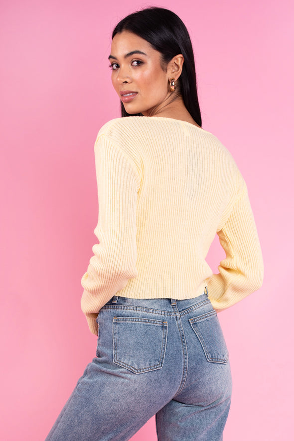 Fitted Button Front Cardigan Yellow