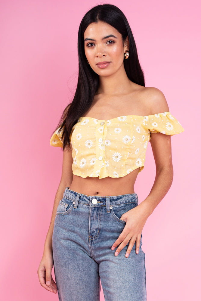 Daisy Button Up Cotton Crop Top