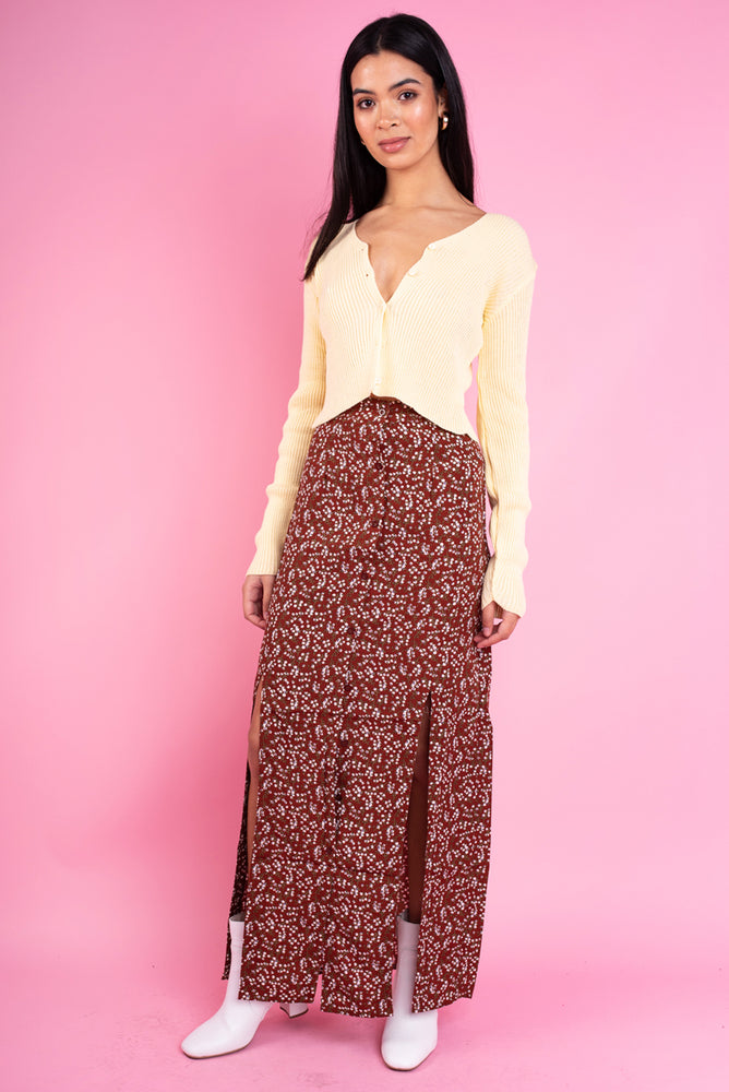Vanessa Midi skirt With Front Slip in Vintage Brown