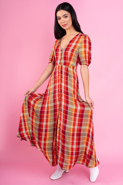 Ann Check Maxi Dress