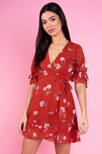 Rust Floral Print Ruffle Hem and Cuff Mini Wrap Dress.