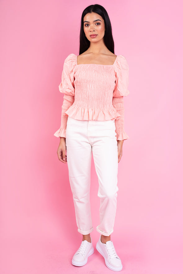 Shirred Square Neck Top-Pink