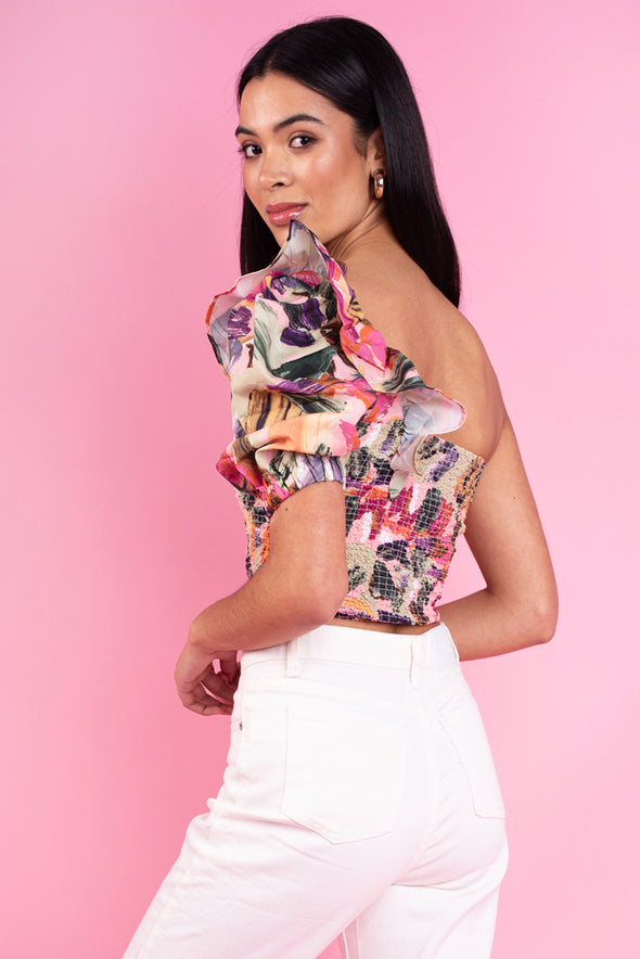 Brushstroke Print One Shoulder Crop Top