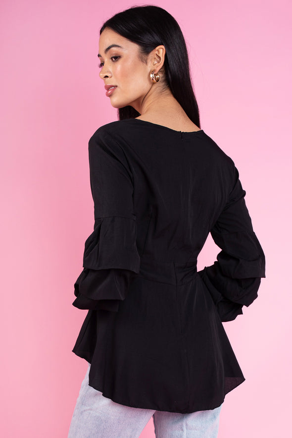 Emma Ruffle Top - Black