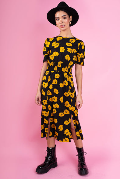 Black Floral Print Shirred Waist and Cuff Split Front Midi Dress