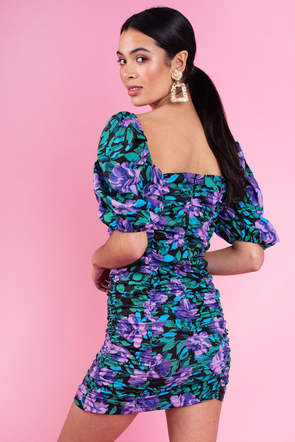 Floral Print Ruched Puff Sleeve Dress.