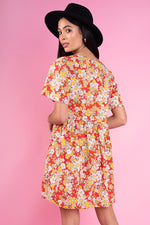 Multi Floral Print Mock Horn Button Front Mini Smock Dress