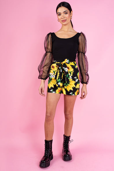 Mia Floral Belted - Shorts