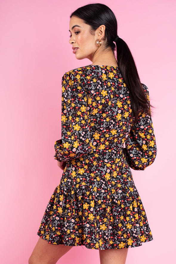 Multi Ditsy Floral Print Ruffled Tiered Hem Wrap Mini Dress
