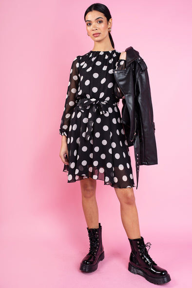 Neeve Black & White Polka Dot Dress