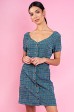 Sophia Checkered Front Buttons Dress - Teal