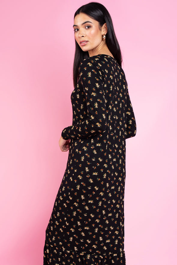 Roxanne Midi Smock Dress in Black Ditsy Floral