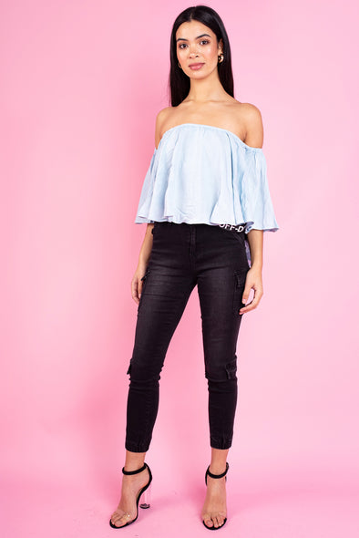 Mary Ruffle Off the Shoulder Top - Blue