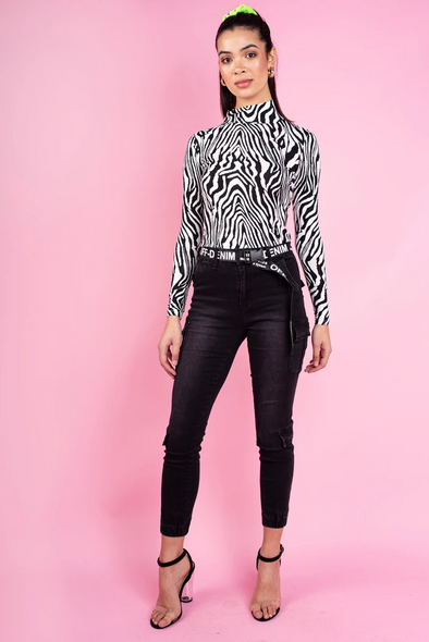 High Neck Zebra Print Top.