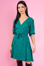 Jessye Printed Midi Dress - Green