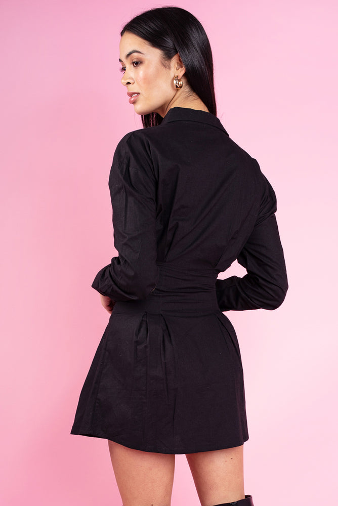 Black Cotton Poplin Pin Tuck Waist Shirt Dress