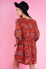 Rust Paisley Print Smock Dress With Flare Sleeves