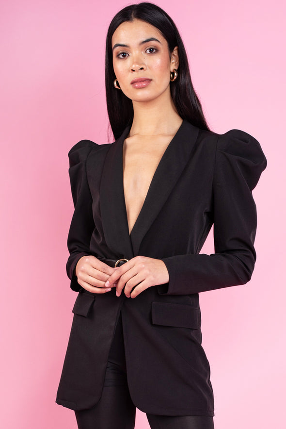 Sasha Black Ladies Belted Blazer Jacket