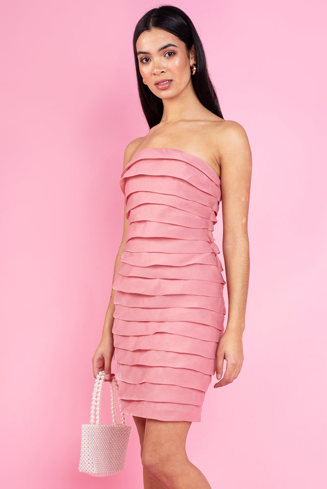 Nora Off the Shoulder Bodycon Dress - Pink